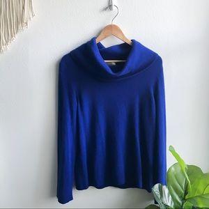 Charter Club Cowl Neck Cashmere Sweater Blue L